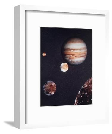 Composite Image of Jupiter & Four of Its Moons--Framed Premium Photographic Print