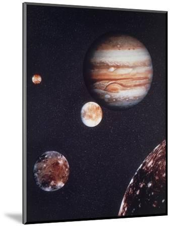 Composite Image of Jupiter & Four of Its Moons--Mounted Premium Photographic Print