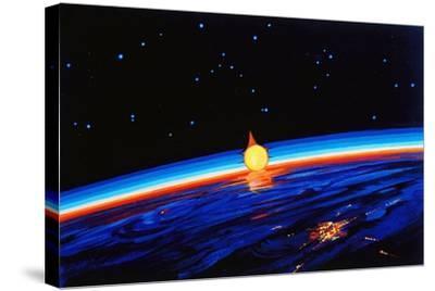 Sunrise In Space' by Leonov-Ria Novosti-Stretched Canvas Print