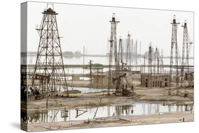 Caspian Sea Oil Rigs-Ria Novosti-Stretched Canvas Print