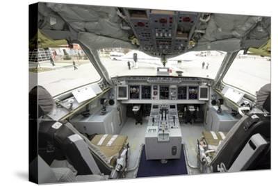 Cockpit of Superjet 100 Airliner-Ria Novosti-Stretched Canvas Print