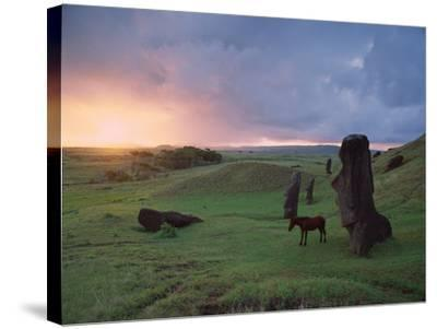 Easter Island Statues-David Nunuk-Stretched Canvas Print