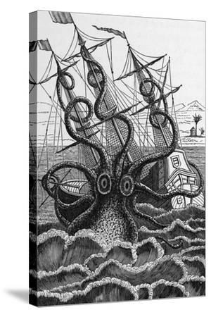 Octopus Attacking a Ship-Middle Temple Library-Stretched Canvas Print