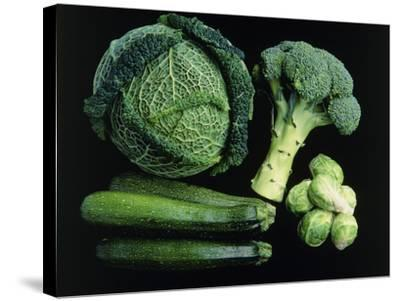 Green Vegetable Selection-Damien Lovegrove-Stretched Canvas Print