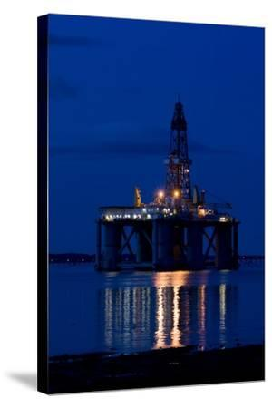 Oil Drilling Rig At Night, North Sea-Duncan Shaw-Stretched Canvas Print