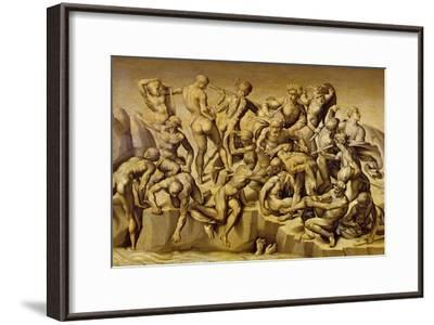 The Battle of Cascina, or the Bathers, after Michelangelo (1475-1564), 1542-Aristotile da Sangallo-Framed Giclee Print