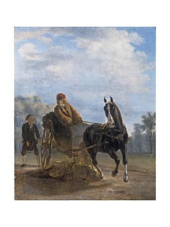 Voltaire in a Cabriolet at Ferney-Jean Huber-Framed Giclee Print