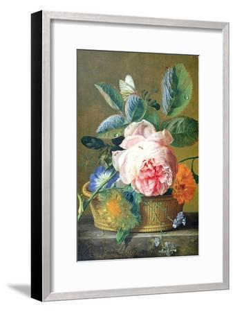A Basket with Flowers, 1740-45-Jan van Huysum-Framed Giclee Print