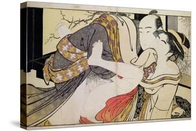 Lovers from the 'Poem of the Pillow'-Kitagawa Utamaro-Stretched Canvas Print
