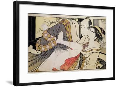 Lovers from the 'Poem of the Pillow'-Kitagawa Utamaro-Framed Giclee Print