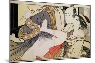 Lovers from the 'Poem of the Pillow'-Kitagawa Utamaro-Mounted Giclee Print