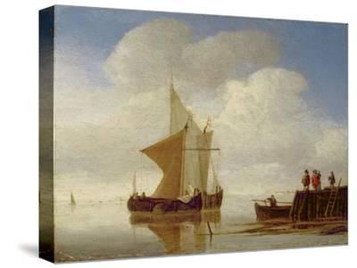 Two Smalschips Off the End of a Pier, C.1700-10-Willem Van De, The Younger Velde-Stretched Canvas Print