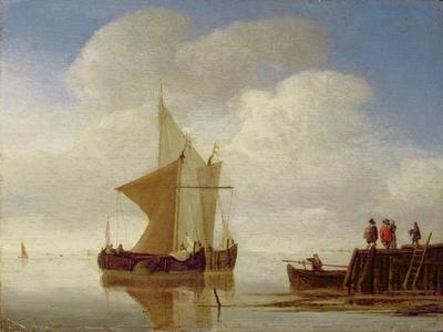 Two Smalschips Off the End of a Pier, C.1700-10-Willem Van De, The Younger Velde-Premium Giclee Print