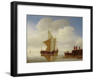 Two Smalschips Off the End of a Pier, C.1700-10-Willem Van De, The Younger Velde-Framed Giclee Print