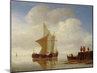 Two Smalschips Off the End of a Pier, C.1700-10-Willem Van De, The Younger Velde-Mounted Giclee Print