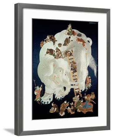 Chinese Washing a White Elephant, Gift Cover, 1800-50--Framed Giclee Print