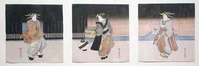 Geisha at Night Triptych, 1818-30-Toyokuni II-Framed Giclee Print