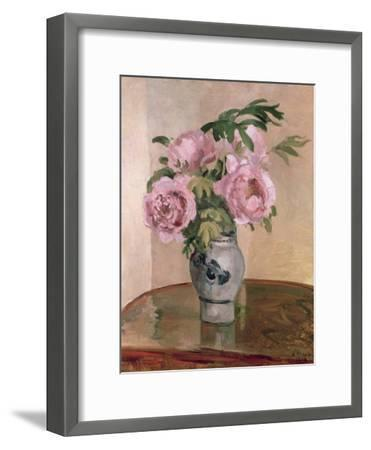 A Vase of Peonies, 1875-Camille Pissarro-Framed Giclee Print