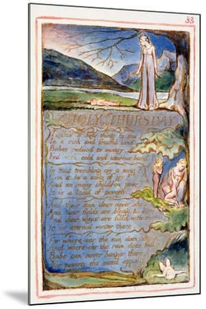 Holy Thursday: Plate 33 from Songs of Innocence and of Experience C.1815-26-William Blake-Mounted Giclee Print