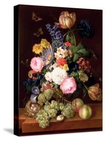 Flowers and Fruit with a Bird's Nest on a Ledge, 1821-Franz Xavier Petter-Stretched Canvas Print