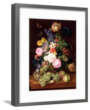 Flowers and Fruit with a Bird's Nest on a Ledge, 1821-Franz Xavier Petter-Framed Premium Giclee Print