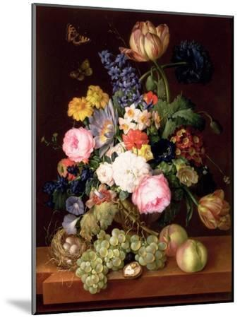 Flowers and Fruit with a Bird's Nest on a Ledge, 1821-Franz Xavier Petter-Mounted Premium Giclee Print