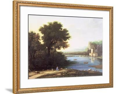Italianate Landscape with a Goatherd Piping to His Goats-Claude Lorraine-Framed Giclee Print