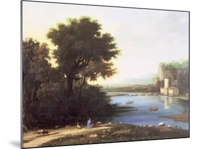 Italianate Landscape with a Goatherd Piping to His Goats-Claude Lorraine-Mounted Giclee Print