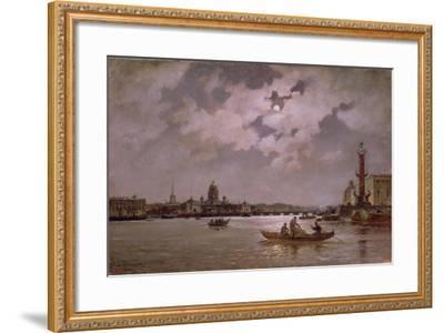 View of the Neva and the Admiralteyskaya Embankment by Moonlight, 1882-Aleksandr Karlovich Beggrov-Framed Giclee Print