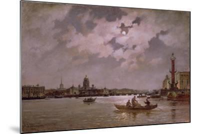 View of the Neva and the Admiralteyskaya Embankment by Moonlight, 1882-Aleksandr Karlovich Beggrov-Mounted Giclee Print
