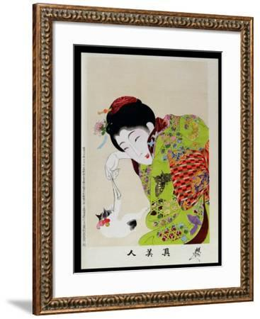 Shin Bijin (True Beauties) Depicting a Woman Playing with a Kitten, from a Series of 36, Modelled…-Toyohara Chikanobu-Framed Giclee Print