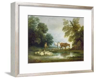 Shepherd by a Stream-Thomas Gainsborough-Framed Giclee Print