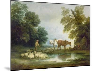 Shepherd by a Stream-Thomas Gainsborough-Mounted Giclee Print