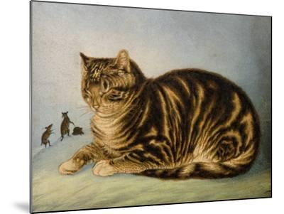 Puss Napping-George Baxter-Mounted Giclee Print
