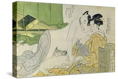 A 'Shunga' (Erotic) Print: Lovers in a Tent, C.1785-Yushido Shunsho-Stretched Canvas Print