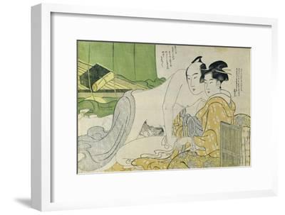 A 'Shunga' (Erotic) Print: Lovers in a Tent, C.1785-Yushido Shunsho-Framed Giclee Print