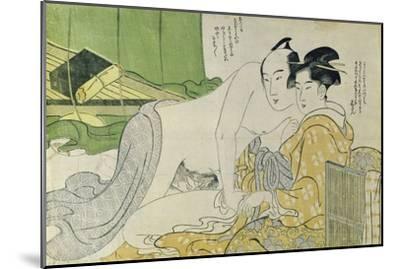 A 'Shunga' (Erotic) Print: Lovers in a Tent, C.1785-Yushido Shunsho-Mounted Giclee Print