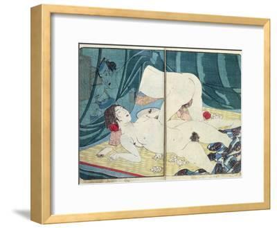 A 'Shunga' (Erotic) Print: 'All Passion Spent - the Satisfied Woman', C.1855-Kuniyoshi Utagawa-Framed Giclee Print