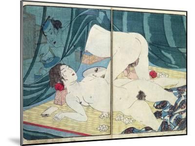 A 'Shunga' (Erotic) Print: 'All Passion Spent - the Satisfied Woman', C.1855-Kuniyoshi Utagawa-Mounted Giclee Print