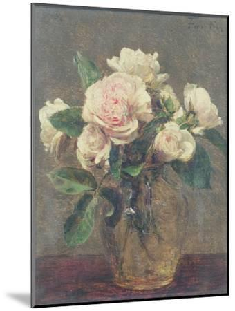 White Roses in a Glass Vase, 1875-Henri Fantin-Latour-Mounted Giclee Print