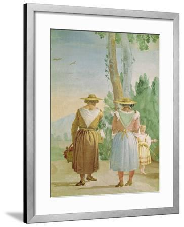 Two Peasant Women and a Child Seen from Behind, from the 'Foresteria' (Guesthouse) 1757-Giandomenico Tiepolo-Framed Giclee Print