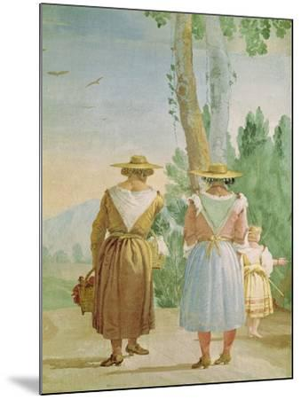 Two Peasant Women and a Child Seen from Behind, from the 'Foresteria' (Guesthouse) 1757-Giandomenico Tiepolo-Mounted Giclee Print