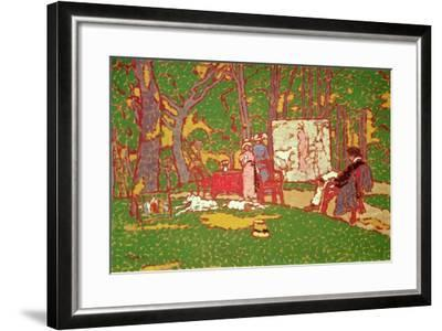 Painting Lazarine and Anella in the Park. it's Hot, 1910-Jozsef Rippl-Ronai-Framed Giclee Print
