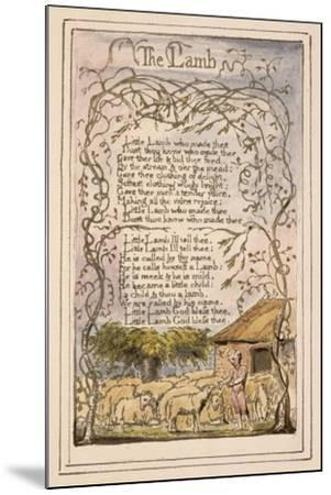 Songs of Innocence and of Experience Plate 7: the Lamb, C.1789-94-William Blake-Mounted Giclee Print