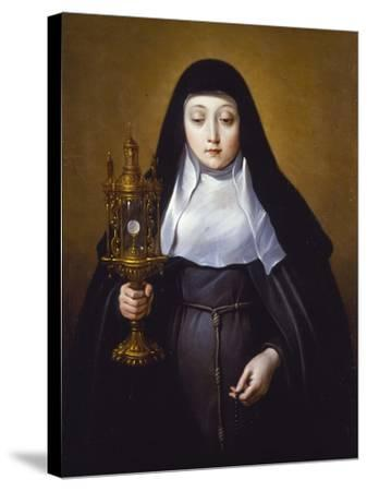 St Claire Holding a Monstrance with the Eucharist-Frans Luyckx Or Leux-Stretched Canvas Print