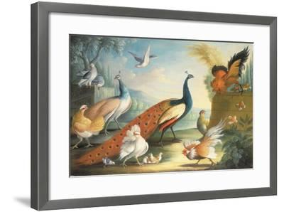 Two Peacocks, Doves, Chickens and a Rooster in a Parkland-Marmaduke Cradock-Framed Giclee Print