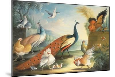 Two Peacocks, Doves, Chickens and a Rooster in a Parkland-Marmaduke Cradock-Mounted Giclee Print