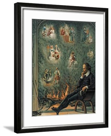 The Genius of Shakespeare (Presented with 'Great Thoughts' Christmas Number), Pub. 1888 by W.…--Framed Giclee Print