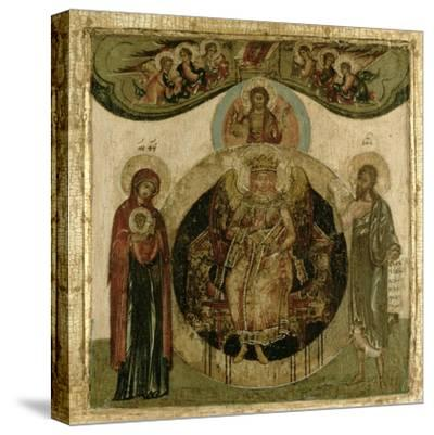 Russian Icon of Sophia, the Holy Wisdom, Enthroned in the Form of a Fiery Winged Angel, Moscow…--Stretched Canvas Print
