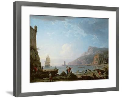 Morning Scene in a Bay, 1752-Claude Joseph Vernet-Framed Giclee Print